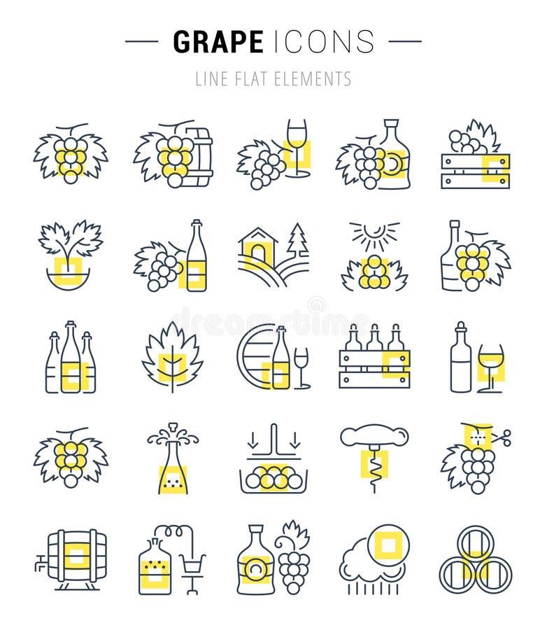 De vastgestelde Vector Vlakke Druif van Lijnpictogrammen stock illustratie