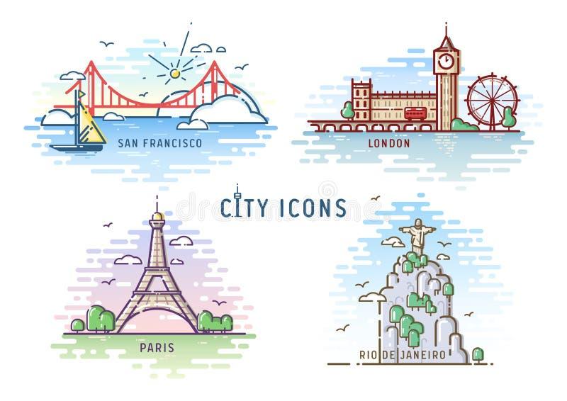 De vastgestelde vectorillustratie van het stadspictogram vector illustratie