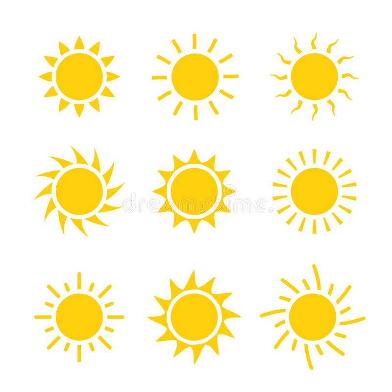 De vastgestelde vectorillustratie van het zonpictogram Van de het ontwerpzomer van de zoninzameling het gele teken vector illustratie