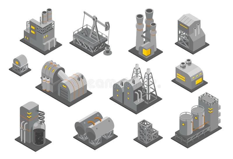 De vastgestelde vectorillustratie van Isometry van de fabriekeninstallatie De fabriek van de olie Industriële productie stock illustratie