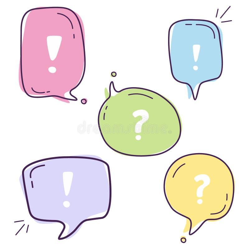 De vastgestelde vectorillustratie van de kleurrijke bellen van de dialoogtoespraak met pictogrammen liet ` s met lijnstijl op de  stock illustratie