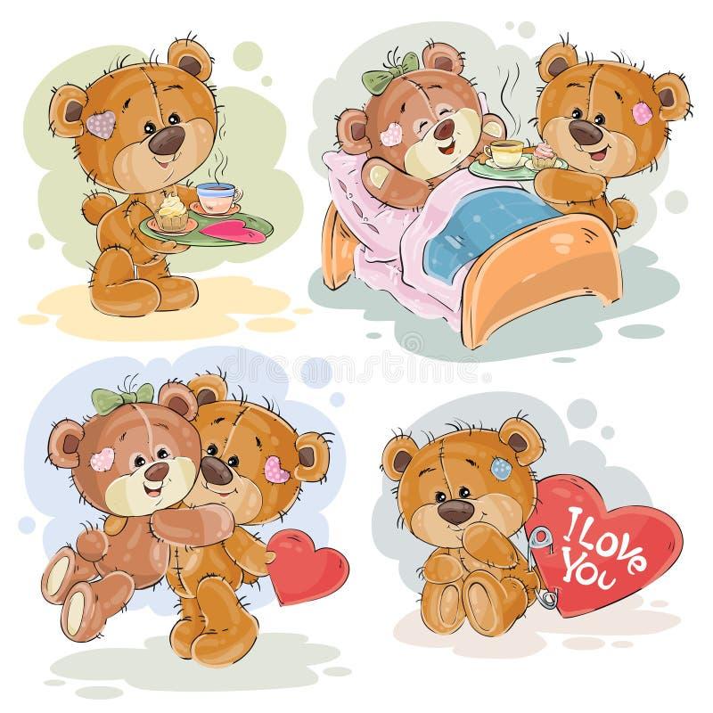 De vastgestelde vectorillustraties van de klemkunst van bekoorde teddyberen stock illustratie