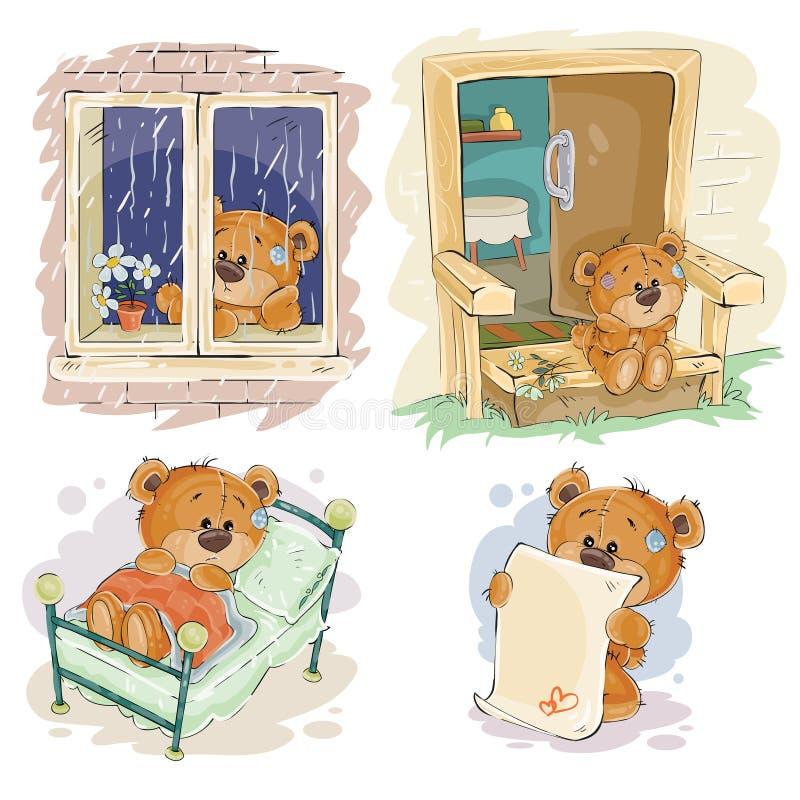 De vastgestelde vectorillustraties van de klemkunst van bored teddyberen stock illustratie