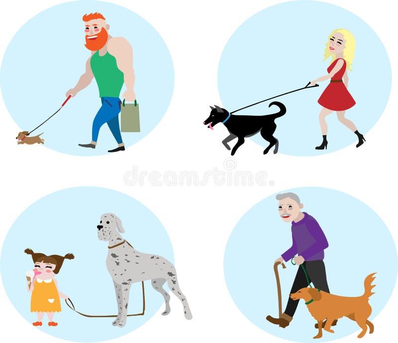 De vastgestelde vectormensen van de hondeigenaar royalty-vrije stock afbeelding