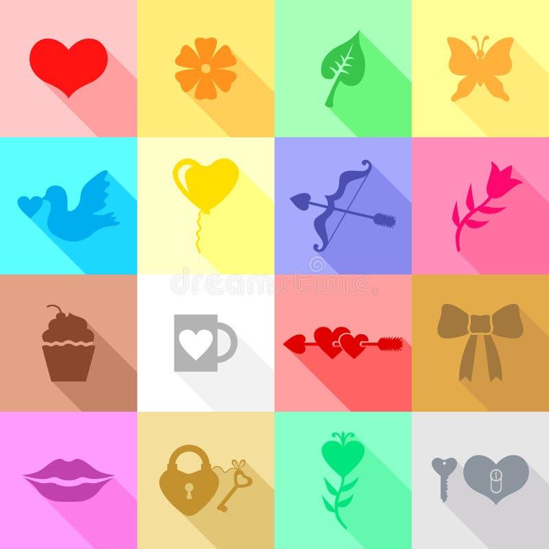 De vastgestelde veelkleurige vlakke pictogrammen van de valentijnskaartendag royalty-vrije illustratie