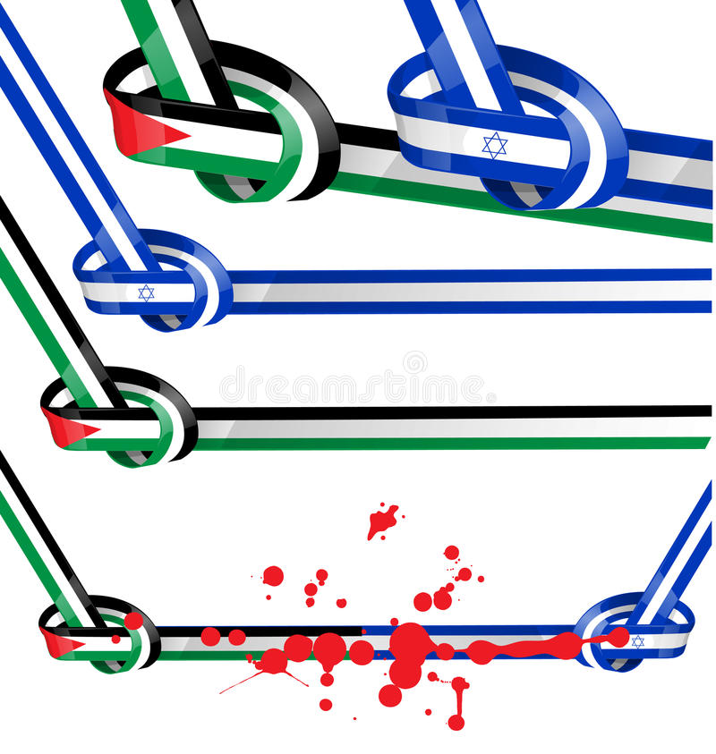 De vastgestelde vlag van Israël en van Palestina stock illustratie