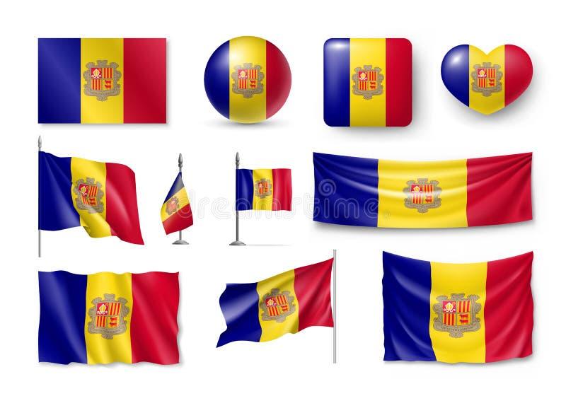 De vastgestelde vlaggen van Andorra, banners, banners, symbolen, vlak pictogram stock illustratie