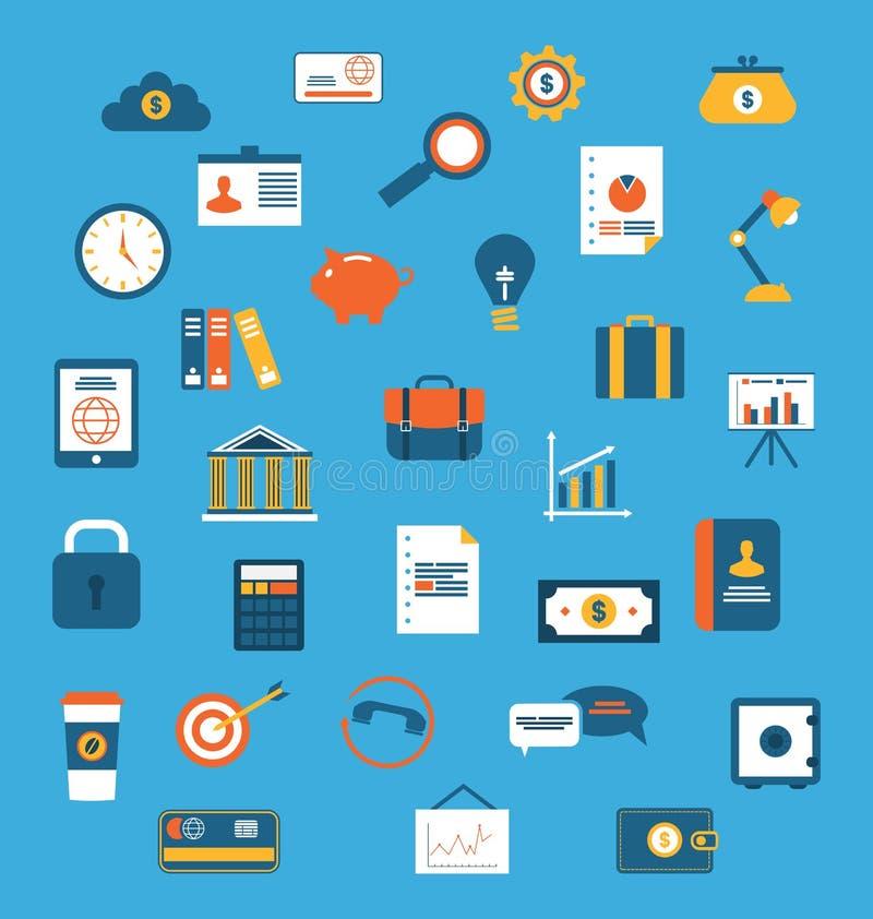 De vastgestelde vlakke pictogrammen van Web ontwerpen voorwerpen, zaken, bureau en marke royalty-vrije illustratie