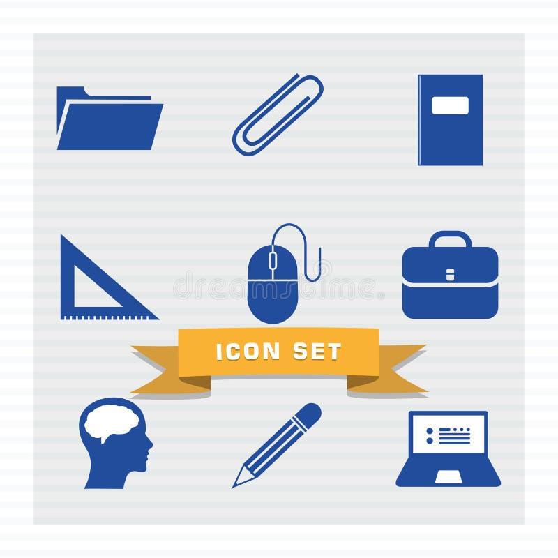 De vastgestelde vlakke stijl van het onderwijspictogram stock illustratie