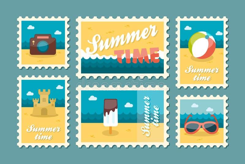 De vastgestelde vlakte van de zomerzegel royalty-vrije illustratie
