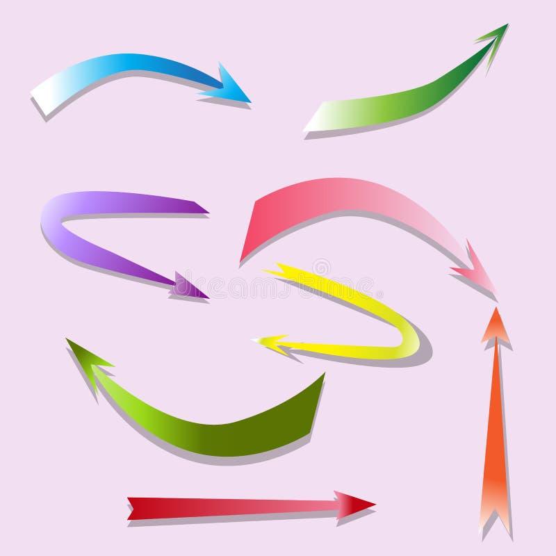 De vastgestelde wijzers van de ontwerppijl met lichte schaduwen voor uw werken vector illustratie