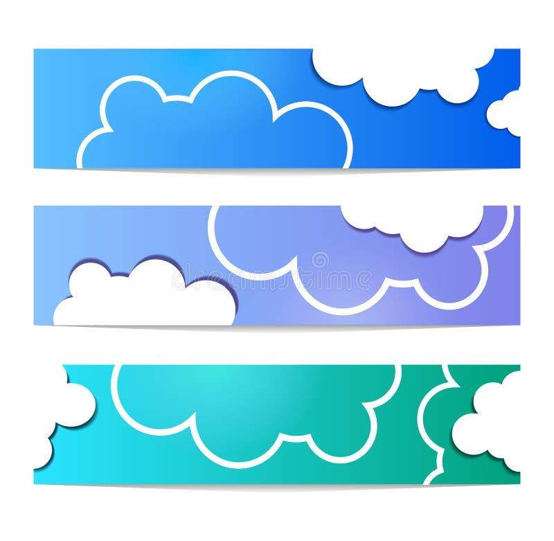 De vastgestelde witte kleur van de wolkenbanner op blauwe achtergrond Vlakke hemel vector illustratie