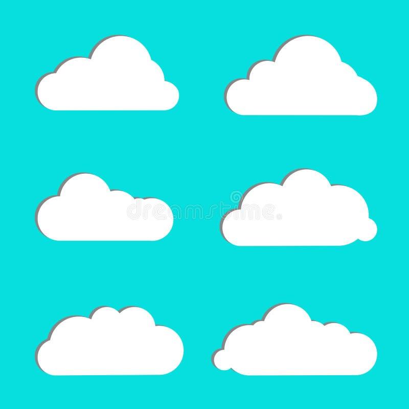 De vastgestelde witte kleur van het wolkenpictogram op blauwe achtergrond De verschillende symbolen van het aard cloudscape weer  royalty-vrije illustratie