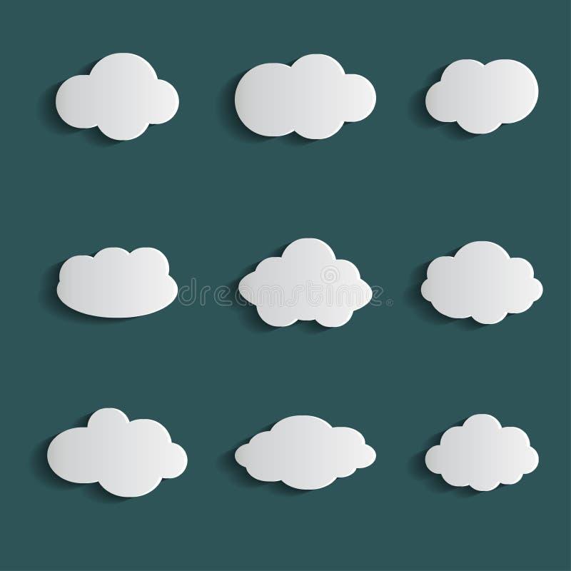De vastgestelde witte kleur van het wolkenpictogram op blauwe achtergrond Inzameling van de hemel de vlakke illustratie voor Web  stock illustratie