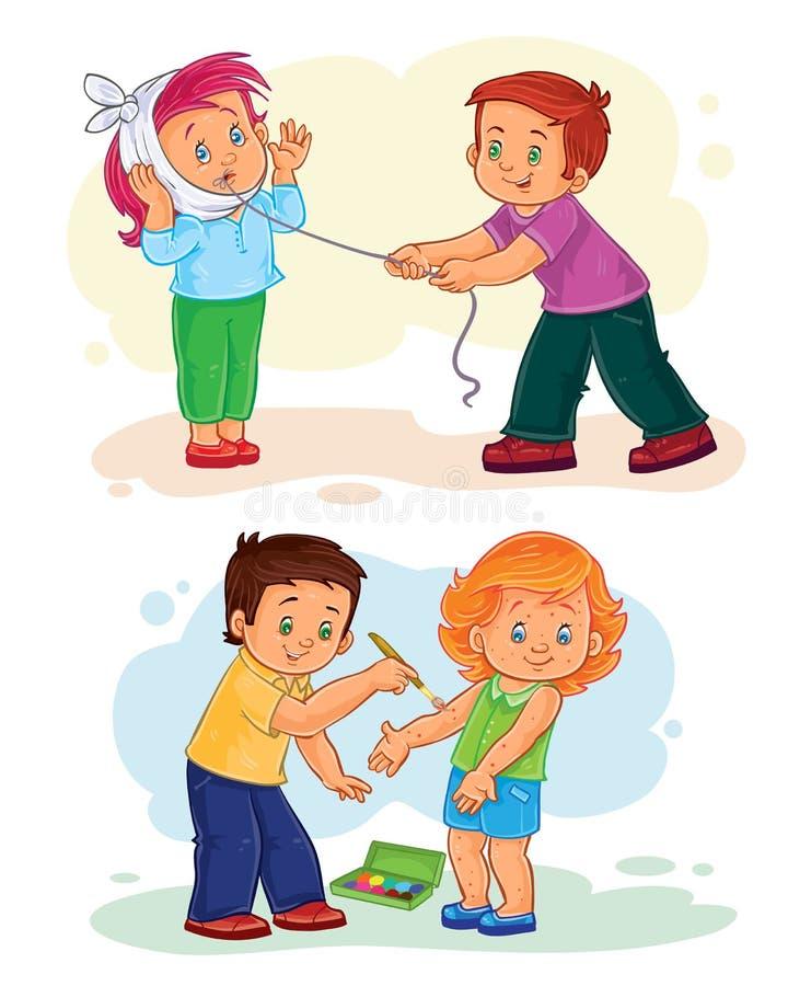 De vastgestelde zieken van pictogrammen kleine kinderen stock illustratie