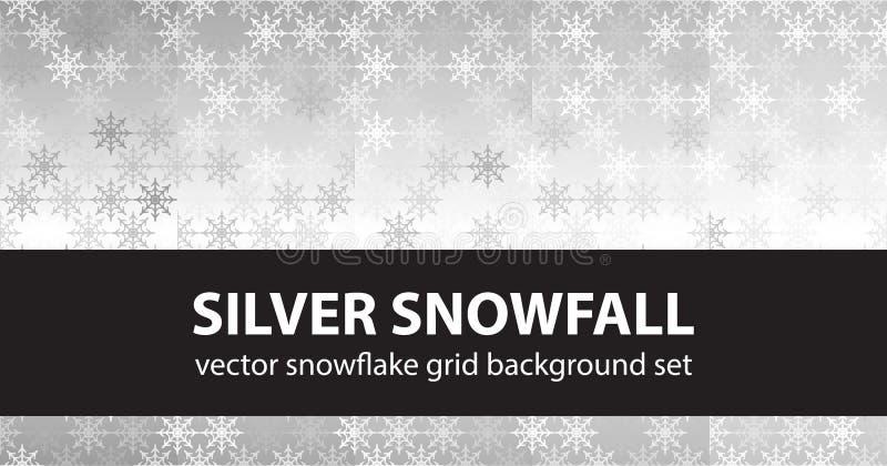 De vastgestelde Zilveren Sneeuwval van het sneeuwvlokpatroon Vector naadloze backgroun vector illustratie