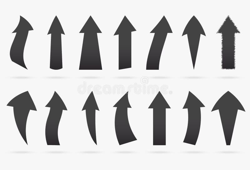 De vastgestelde zwarte geïsoleerde origami van de houtskool vector populaire pijl sticker vector illustratie