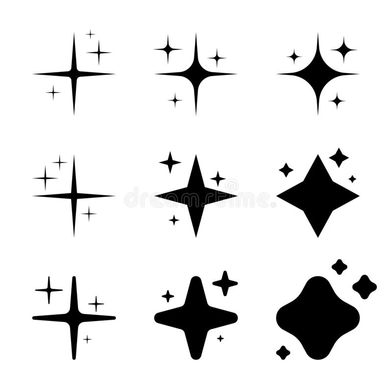 De vastgestelde zwarte pictogrammen van de sterrenfonkeling vector illustratie
