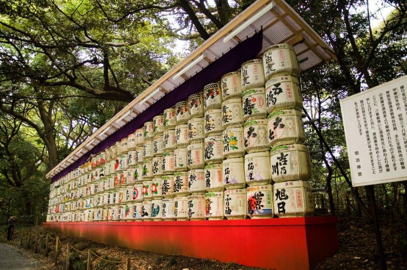 De vaten van het belang bij het Heiligdom van Meiji Jingu in Harajuku stock foto