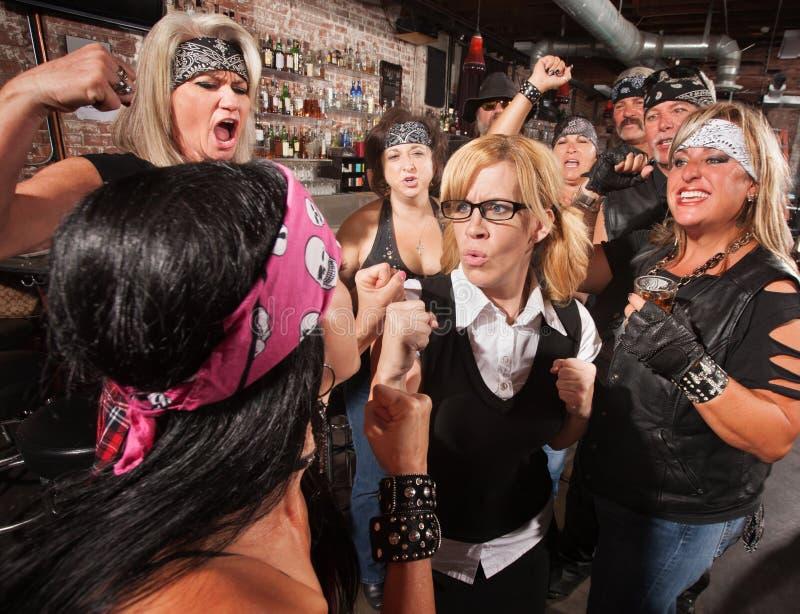 De Vechtende Fietser van Nerd in Bar stock foto's