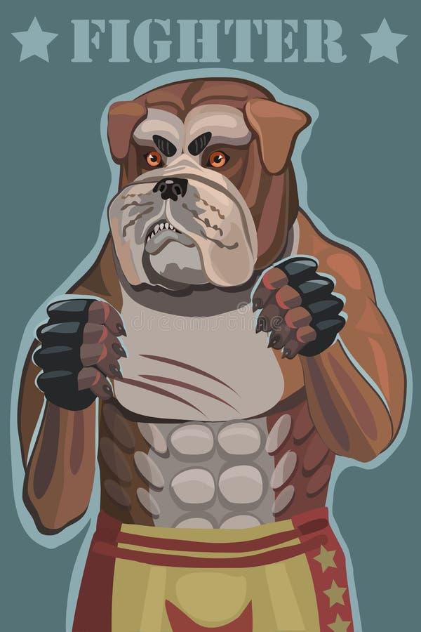 De vechter van de hondbuldog vector illustratie