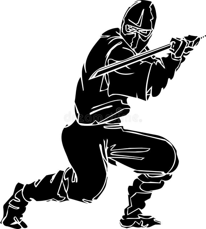 De vechter van Ninja - vectorillustratie. Vinyl-klaar. royalty-vrije illustratie