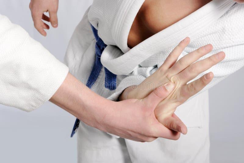De vechters die van het judo voor suprematie worstelen royalty-vrije stock foto's
