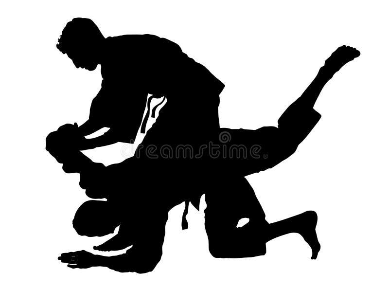 De vechters van de karatemens in kimono, silhouetillustratie De slagsilhouet van judovechters Het traditionele krijgsart. van Jap royalty-vrije illustratie