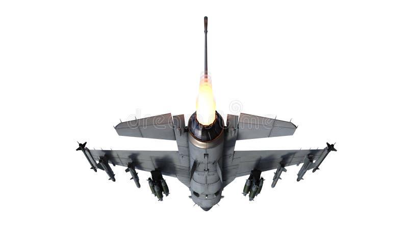 De vechtersjet tijdens de vlucht, militaire die vliegtuigen, legervliegtuig op witte achtergrond, achter 3D bodemmening wordt ge stock illustratie