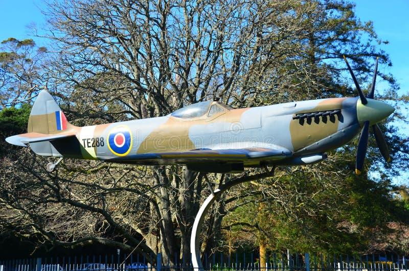 De Vechtersvliegtuig van het replicaheethoofd, Memorial Park, Hamilton New Zealand stock fotografie