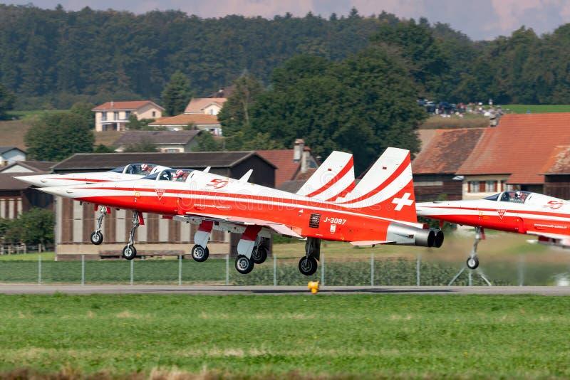 De de vechtersvliegtuigen van Northrop F-5E van de Zwitserse Luchtmachtvorming tonen team Patrouille Suisse royalty-vrije stock afbeelding