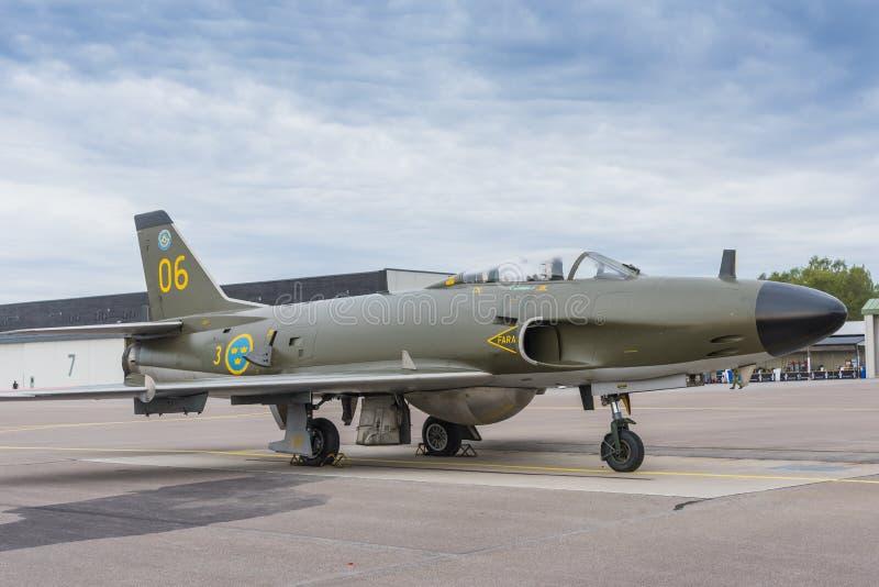 De vechtersvliegtuigen van Saab J32 Lansen stock afbeeldingen