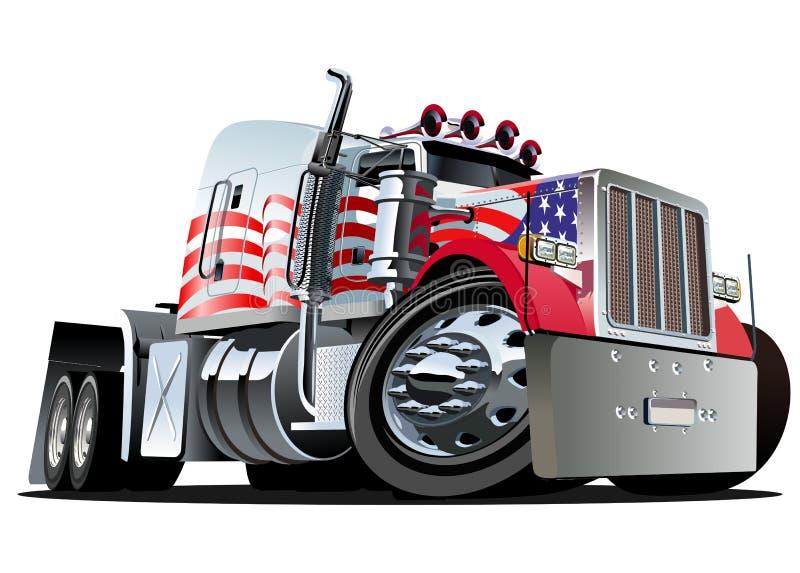De vecteur de dessin animé camion semi illustration libre de droits