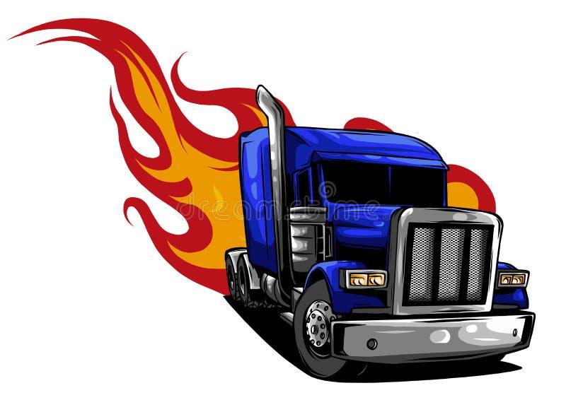 De vecteur de dessin anim? camion semi Conception d'illustration de vecteur illustration libre de droits
