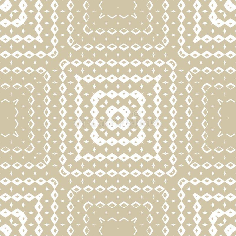 Or de vecteur et fond blanc avec des places, petits losanges, diamants, lignes, grille, tuiles de répétition illustration libre de droits