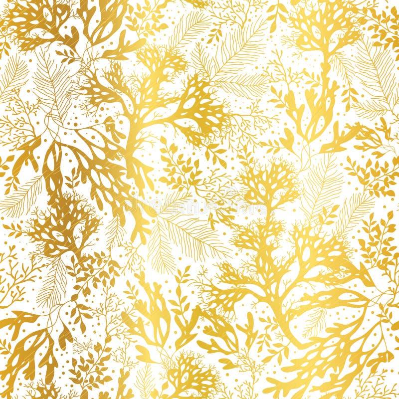 Or de vecteur et fond sans couture de modèle de texture blanche d'algue Grand pour le tissu gris élégant, cartes, épousant illustration stock