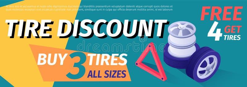De vecteur de pneu de vente bannière, calibre de remise illustration de vecteur