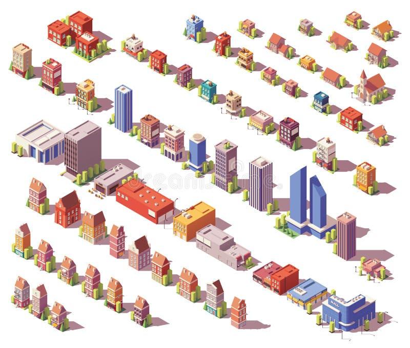 De vecteur poly bâtiments isométriques bas réglés illustration de vecteur