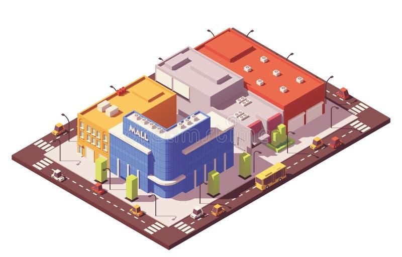 De vecteur poly bloc de ville isométrique bas illustration libre de droits