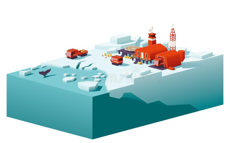 De vecteur poly station polaire bas illustration de vecteur