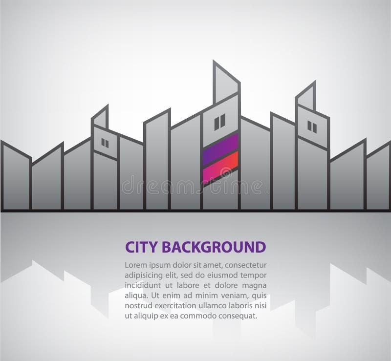 De vector abstracte achtergrond van de silhouetstad met royalty-vrije illustratie