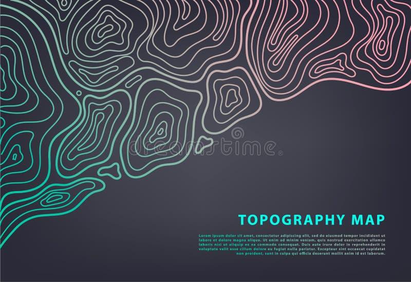De vector abstracte banner van de topografiekaart Topografische contourachtergrond Toponet royalty-vrije illustratie