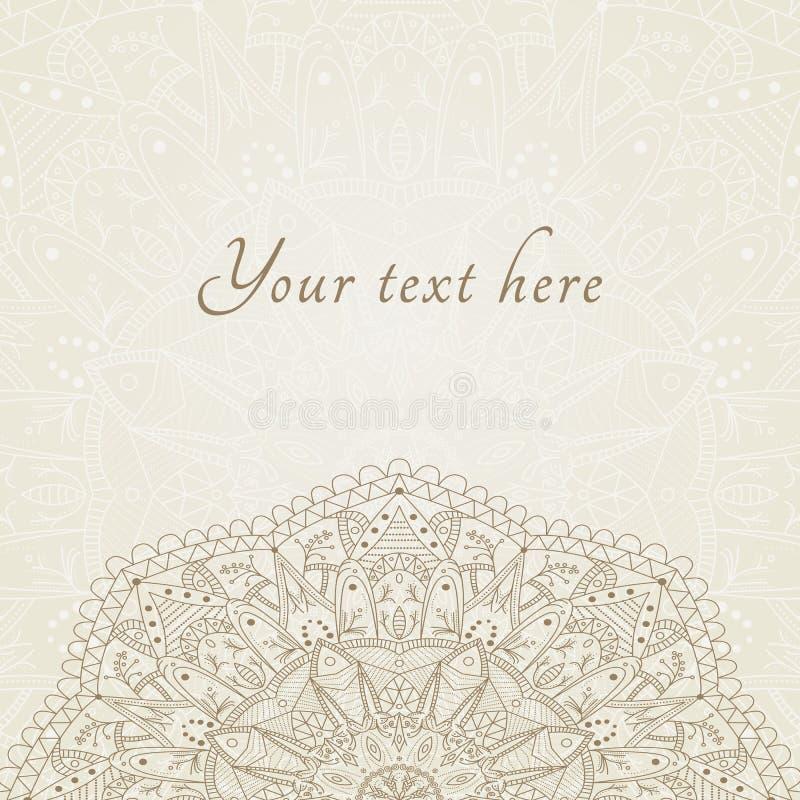 De vector abstracte bloemenkaart van henna Indische Mehndi royalty-vrije illustratie