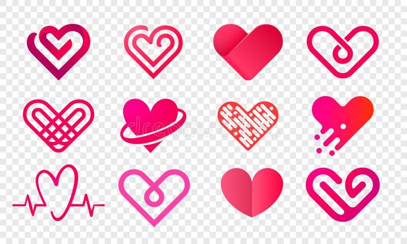 De vector abstracte creatieve geplaatste pictogrammen van het hartembleem vector illustratie