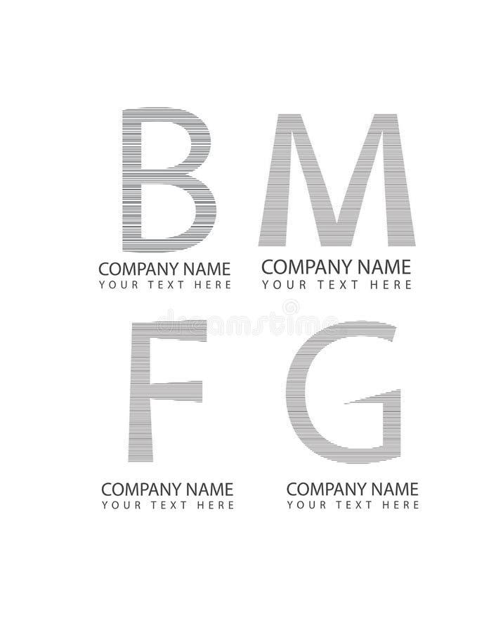 De vector abstracte de brievenpictogrammen van m, van B, van F en g-, zaken logotype plaatsen, de symbolen van het bedrijfembleem vector illustratie