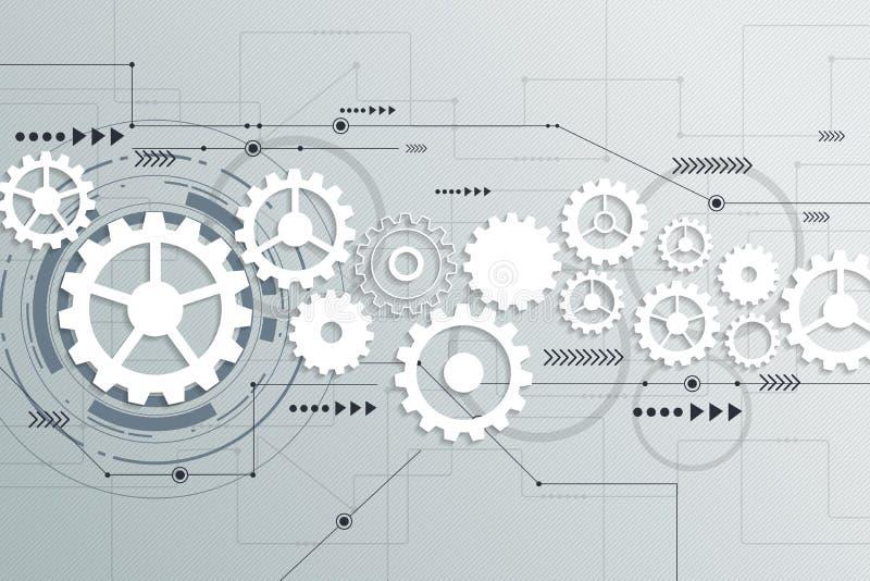 De vector abstracte futuristische techniek van het toestelwiel op kringsraad royalty-vrije illustratie