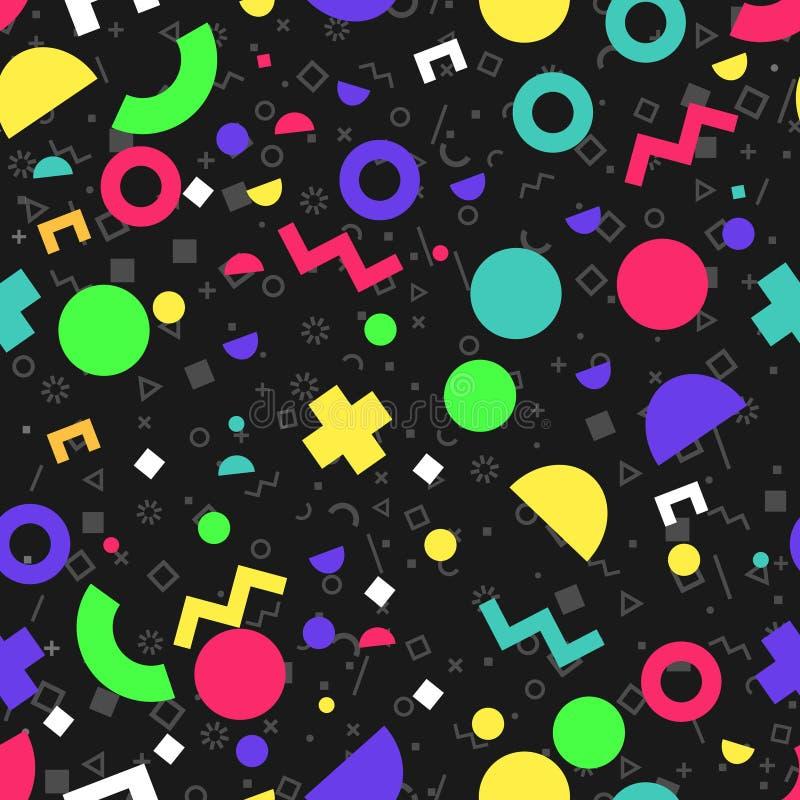 De vector abstracte jaren '90 van het meetkunde naadloze patroon vibe stock illustratie