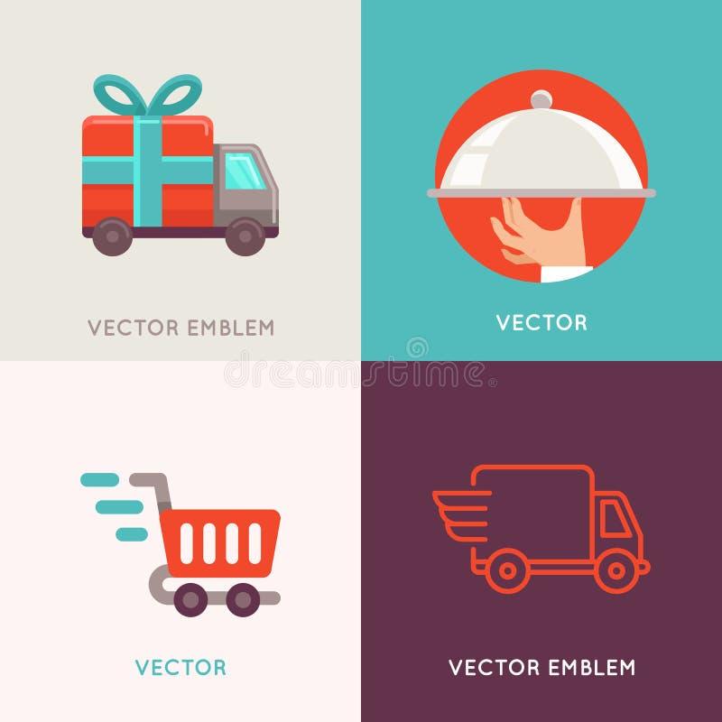 De vector abstracte malplaatjes van het embleemontwerp in vlakke stijl vector illustratie