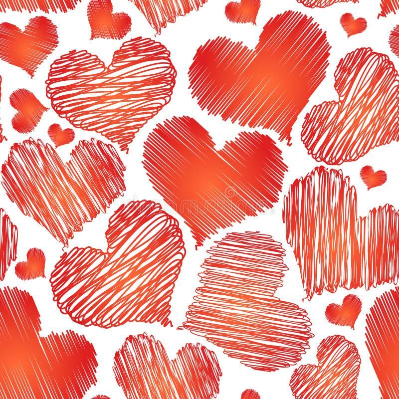 De vector abstracte naadloze achtergrond van het liefdehart voor de valentijnskaart van heilige stock illustratie
