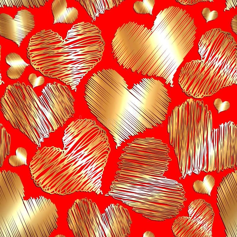 De vector abstracte naadloze achtergrond van het liefdehart voor de valentijnskaart van heilige vector illustratie
